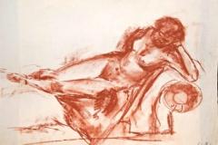 7035, 1952, Akt auf Sofa, Kreide/Papier, 60x43 cm