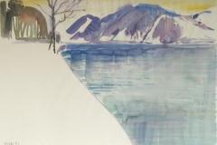 635, Steinbach am Attersee, 1992, Aquarell, 52,5 x 39 cm