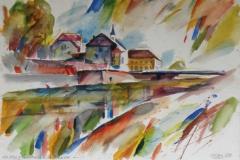 692, An der Vöckla, 1980, Aquarell, 56,5 x 38,5 cm