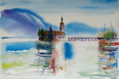 707, Schloss Orth, Traunsee, Aquarell, 57 x 38,5 cm