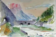 761, Wehranlage an der Enns, Aquarell, 65 x 47 cm