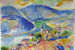 858, St. Nikola an der Donau, OÖ, 1983, Aquarell, 56,5 x 45 cm