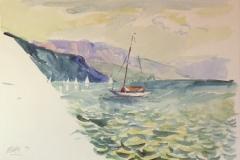 880, Am Attersee, 1992, Aquarell, 56 x 38 cm