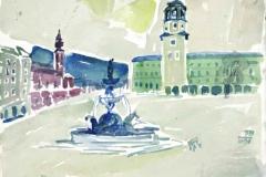 7499, Salzburg Glockenspiel, 1984, Aquarell/Papier, 28x35 cm