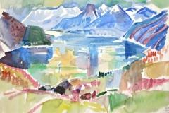 7522, Wolfgangsee, St. Gilgen, 01.05.84, Aquarell/Papier, 57x78 cm