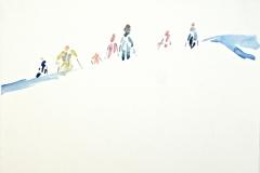 11715, Skifahrer, Aquarell/Papier, 1989, 33x41 cm