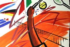 0076, Tennis Aufschlag, 1992, 120x100 cm, Acryl / Leinwand