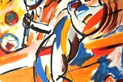 0081, Tennisspieler kunterbunt, 100x120 cm, Acryl / Leinwand