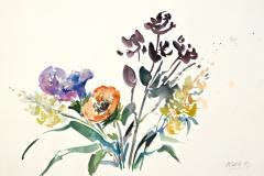 10002, zarter Blumenstrauß, 1992, Aquarell / Papier, 38x56 cm