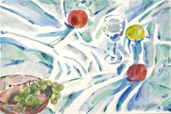 10004, gedeckter Tisch, 1992, Aquarell / Papier, 38x57 cm