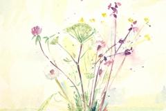 10010, Frühlingsblumen, Aquarell / Papier, 40x50 cm