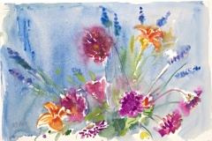 10021, Blumengesteck, Aquarell / Papier, 38,5x56,5 cm