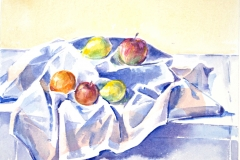 10036, Äpfel am Tisch, Aquarell / Papier, 40x50 cm