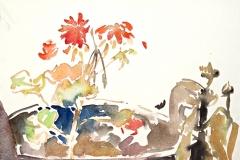 10052, Großer Blumentopf, Aquarell / Papier, 24,5x31 cm