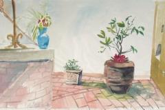 938, Auf der Terrasse, 2000, Aquarell, 48 x 26,5 cm