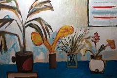 0717, Blumentöpfe, 1985, 70x100 cm, Acryl / Karton