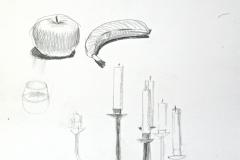 10150, Obst, Kohle/Papier, 1999, 41x50 cm