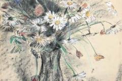 7336, Sommerblumen in Vase, Um 1950, Pastellkreide/Papier, 61x43 cm