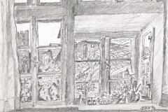 7654, Blick vom Atelier, 1998, Bleistift/Papier, 29,5x42 cm