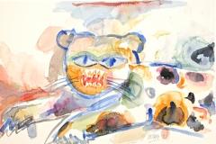 13005, Panther, Aquarell/Papier, 1992, 38x56 cm