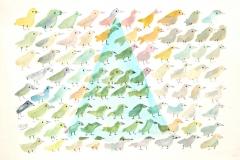 13034, Vogel, Aquarell/Papier, 16x24 cm