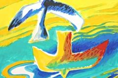 13042, Vogel, Aquarell/Papier, 30x33 cm