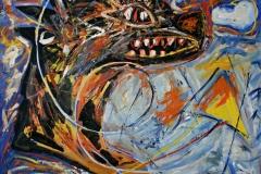 0233, Drachen-Steigen, 115x110 cm, Acryl / Leinwand