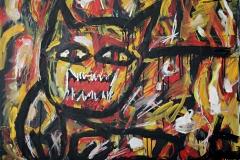 0239, Liegende Katze, 100x80 cm, Acryl / Leinwand