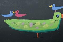 0244, 4 Vögel, 99x40,5 cm, Acryl / Karton