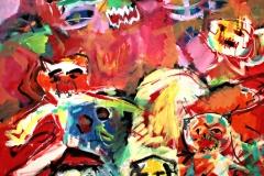 0255, Die Katzen kommen, 1992, 140x165 cm, Acryl / Leinwand
