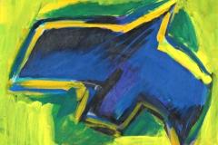 0264, Blauer Vogel, 1994/95, 29,5x25 cm, Acryl / Karton