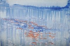 00295, Wasser blau orange, 1991, 100x80 cm, Acryl / Leinwand