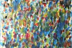 0316, bunte Tropfen, 1977, 104x134 cm, Acryl / Hartfaserplatte