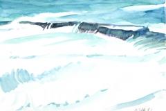 10502, türkises Wasser, 1992, Aquarell/Papier, 30x40 cm