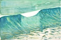 10523, grüne Welle, 1992, Aquarell/Papier, 38x56 cm