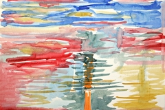 10571, buntes Wasser, Aquarell/ Papier, 37,5x56 cm